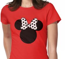 Mouse Ears with Black & White Spotty Bow Womens Fitted T-Shirt