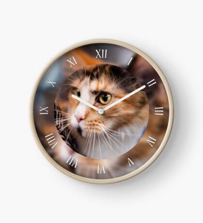 Red hair cat clock Clock