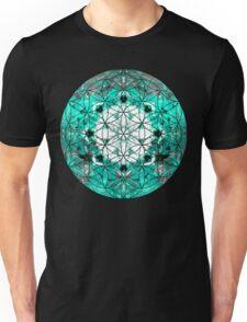 flower of life teal grey 2 Unisex T-Shirt