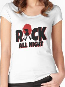 Rock All Night Guitar Funny Women's Fitted Scoop T-Shirt