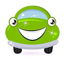 Happy green cute cartoon auto : Product design Photographic Print