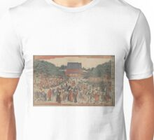 New edition of a front view of San'enzan Zojoji in Shiba - Shucho Tamagawa - 1789 Unisex T-Shirt