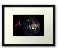 Superman Hovers Above Earth Framed Print