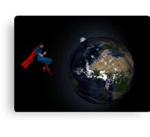 Superman Hovers Above Earth Canvas Print