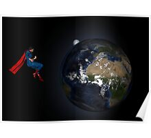 Superman Hovers Above Earth Poster