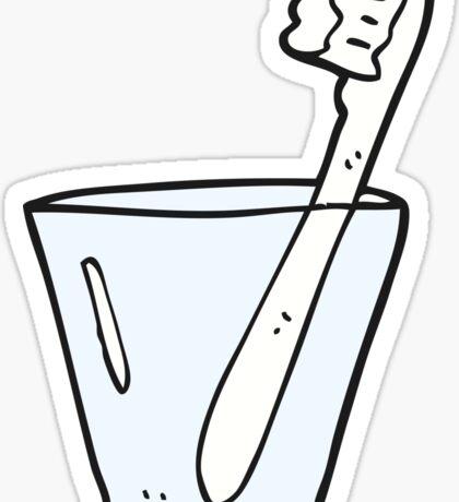 cartoon toothbrush in glass Sticker