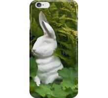 White Rabbit Among Lady's Mantel And Ferns - Digital Gouache Art Work iPhone Case/Skin