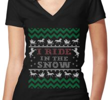 Horse Lover Ugly Christmas Swearse, Horse Lady Christmas Ugly Sweater Women's Fitted V-Neck T-Shirt