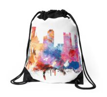 Pittsburgh Skyline , Watercolor Cityscape Pittsburgh Drawstring Bag