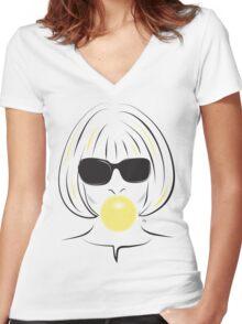 Anna Wintour Bubble Gum Portrait illustration Women's Fitted V-Neck T-Shirt