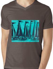 Yacht Regatta Dark Mens V-Neck T-Shirt