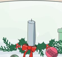 Christmas card with candle Sticker