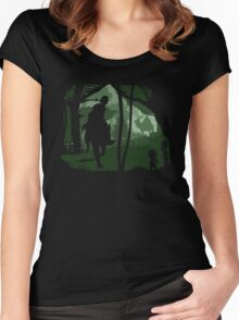 Mononoke, Wolf and Ashitaka in Forest Anime Women's Fitted Scoop T-Shirt