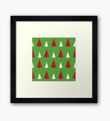 red, white, green, pattern tree Framed Print