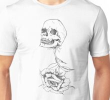 Rose growing out of a skull Unisex T-Shirt