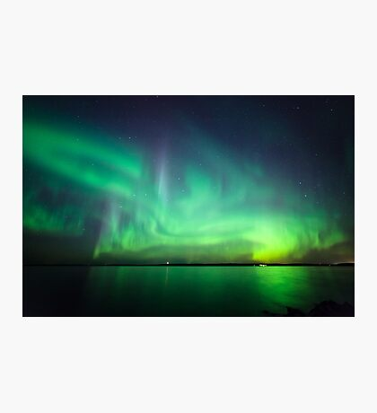 Northern lights over lake Photographic Print