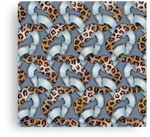 Leopards'n Lace - Blue Canvas Print