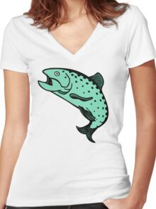 truite saumon Salmon trout Women's Fitted V-Neck T-Shirt