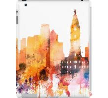 Philadelphia Skyline, Watercolor Painting, Pennsylvania cityscape , Wall Art, Home Decor,Clothing,accessories and gifts iPad Case/Skin