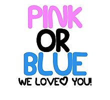 Pink or Blue Baby Gender Reveal Photographic Print