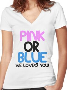 Pink or Blue Baby Gender Reveal Women's Fitted V-Neck T-Shirt