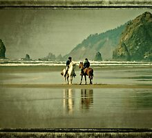 Riding Horses On The Beach by Thom Zehrfeld