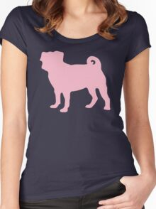Pastel Pink Pug Women's Fitted Scoop T-Shirt