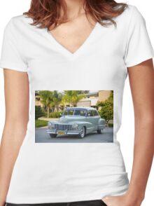 1947 Cadillac Series 60 Fleetwood Sedan Women's Fitted V-Neck T-Shirt