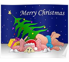 Pigs with tree and presents waiting for Christmas  Poster