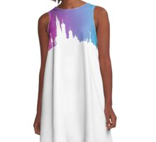 Neon Skyline Cityscape New York City NYC T-Shirt by Cyrca Originals A-Line Dress