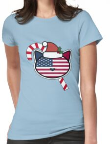 U.S.A. Candy Cane Womens Fitted T-Shirt