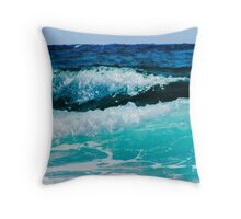Aqua Ocean Waves Crashing on the Sea Shore Throw Pillow