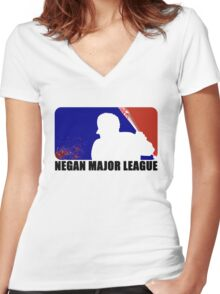Negan Major League - White Women's Fitted V-Neck T-Shirt