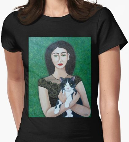 Woman with cat soul  Womens Fitted T-Shirt