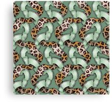 Leopards'n Lace - Green Canvas Print