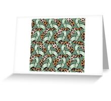 Leopards'n Lace - Green Greeting Card