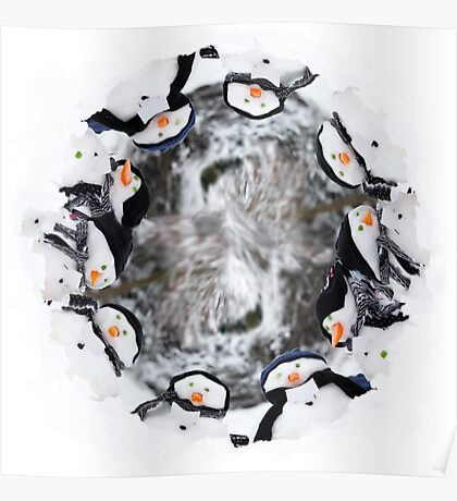 Cute little snowman in a circle Poster