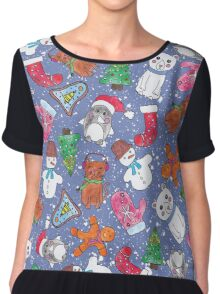 Christmas Characters Hand Painted in Watercolor Chiffon Top