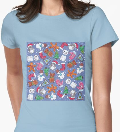 Christmas Characters Hand Painted in Watercolor Womens Fitted T-Shirt