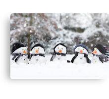 Five cute little snowman in a row Metal Print