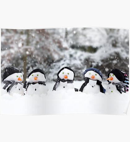 Five cute little snowman in a row Poster