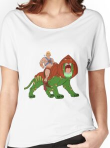 He-man and BattleCat Filmation Style Women's Relaxed Fit T-Shirt