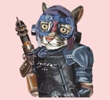 Naughty Pilot Cat with Laser Gun and Heavy Armor One Piece - Long Sleeve