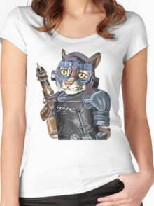 Naughty Pilot Cat with Laser Gun and Heavy Armor Women's Fitted Scoop T-Shirt