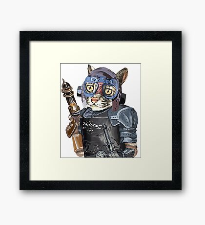 Naughty Pilot Cat with Laser Gun and Heavy Armor Framed Print