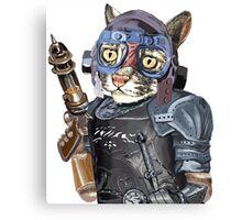 Naughty Pilot Cat with Laser Gun and Heavy Armor Canvas Print