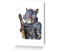 Naughty Pilot Cat with Laser Gun and Heavy Armor Greeting Card