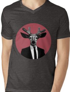 CUTE WORKING Moose Mens V-Neck T-Shirt