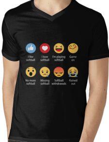 I Love Softball Emoji Emoticon Mens V-Neck T-Shirt