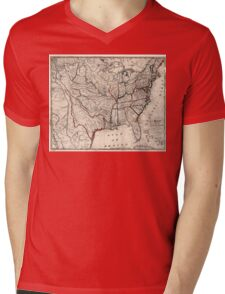 United States - Map including Louisiana - 1818 Mens V-Neck T-Shirt